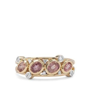 Padparadscha Pink Sapphire & White Zircon 9K Gold Ring ATGW 1.10cts