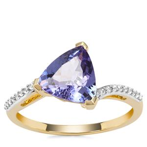 AA Tanzanite Ring with White Zircon in 9K Gold 2.10cts