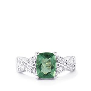 Tucson Green Fluorite Ring with White Topaz in Sterling Silver 2.67cts