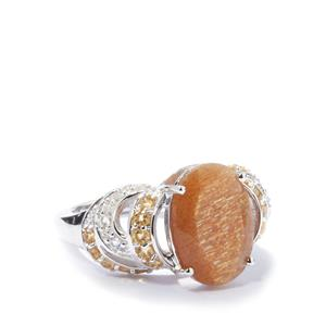 Shinyanga Sunstone Ring with Citrine in Sterling Silver 5.72cts