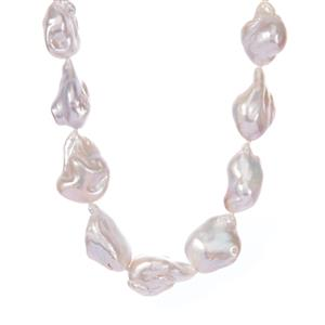 Baroque Cultured Pearl Necklace in Sterling Silver (18x17mm)