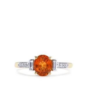 Mandarin Garnet Ring with Diamond in 18K Gold 1.70cts