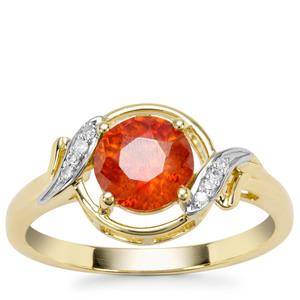 Aliva Sphalerite Ring with Diamond in 9K Gold 1.56cts