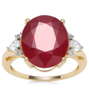 Malagasy Ruby Ring with White Zircon in 9K Gold 10.86cts (F)