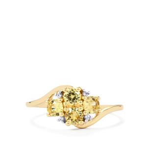 Ceylon & White Zircon 9K Gold Ring ATGW 1.04cts