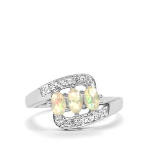 Ethiopian Opal & White Topaz Sterling Silver Ring 0.59cts