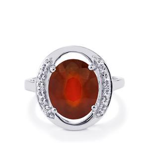 Ciana Hessonite Garnet & White Topaz Sterling Silver Ring ATGW 5.95cts