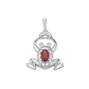 Malagasy Ruby & White Zircon Sterling Silver Pendant ATGW 0.68cts (F)
