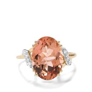 Rose Danburite Ring with White Zircon in 9K Gold 5.83cts