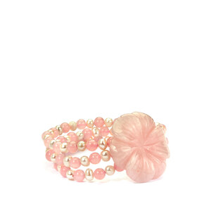 Rose Quartz & Kaori Cultured Pearl Stretchable Flower Bracelet