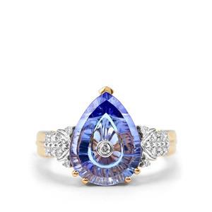 Lehrer TorusRing AA Tanzanite & Diamond 18K Gold Ring MTGW 4cts