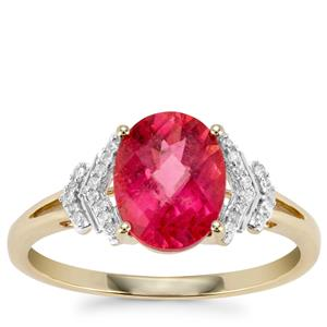 Cruzeiro Rubellite Ring with Diamond in 9K Gold 1.77cts