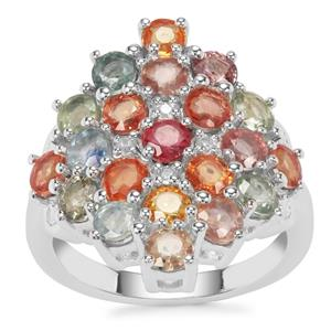 Songea Multi Sapphire Ring with White Zircon in Sterling Silver 5.17cts