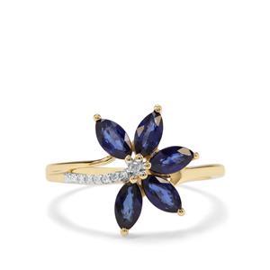 Sri Lankan Sapphire & Diamond 9K Gold Ring ATGW 1.30cts