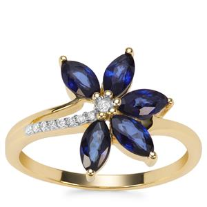 Sri Lankan Sapphire Ring with Diamond in 9K Gold 1.30cts