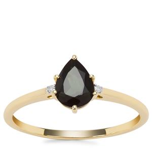 Chrome Tourmaline Ring with Diamond in 9K Gold 0.58ct