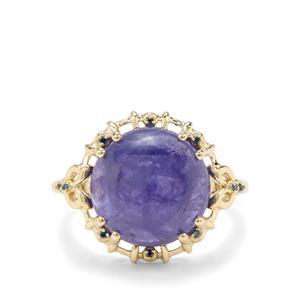 Tanzanite & Blue Diamond 9K Gold Ring ATGW 9.05cts