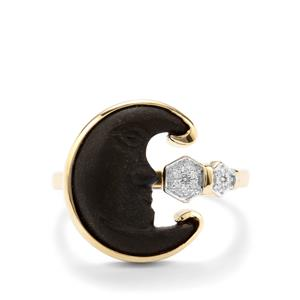 Lehrer Man in the Moon Black Onyx Ring with Diamond in 10K Gold 3.22cts