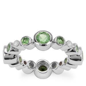Tsavorite Garnet Ring with White Zircon in Sterling Silver 3.38cts