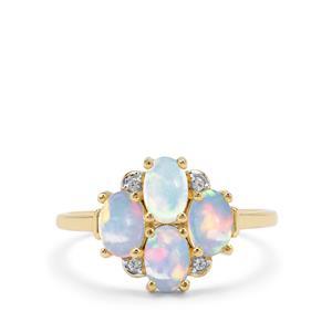 Kelayi Opal & White Zircon 9K Gold Ring ATGW 1.29cts