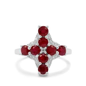 Burmese Ruby & White Zircon Sterling Silver Ring ATGW 2.30cts