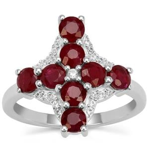 Burmese Ruby Ring with White Zircon in Sterling Silver 2.30cts