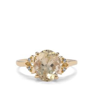 Cuprian Sunstone & Champagne Diamond 9K Gold Ring ATGW 2.52cts