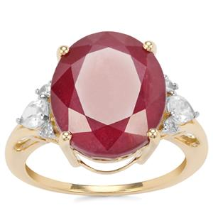 Malagasy Ruby Ring with White Zircon in 9K Gold 12.03cts (F)
