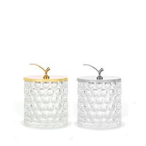 Bobble Glass Trinket Jar with Leaf Lid - in Silver or Gold (Large)