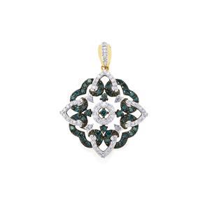 Blue Diamond Pendant with White Diamond in 10k Gold 1ct