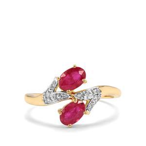 Montepuez Ruby & Diamond 10K Gold Ring ATGW 1.12cts