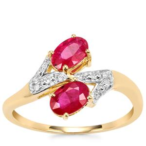 Montepuez Ruby Ring with Diamond in 10K Gold 1.12cts