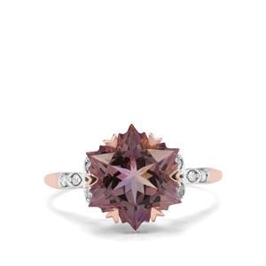Wobito Snowflake Cut Anahi Ametrine & Diamond 9K Rose Gold Ring ATGW 4.25cts