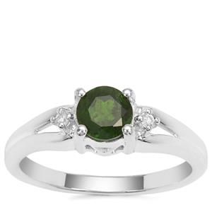 Chrome Diopside Ring with White Zircon in Sterling Silver 0.73ct