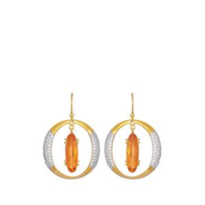 Padparadscha Quartz Earrings with White Topaz in Gold Plated Sterling Silver 8.85cts