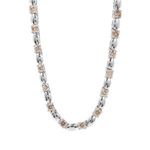 Champagne Diamond Necklace in Sterling Silver 2ct