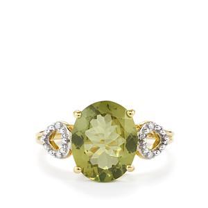 Ilakaka Natural Green Apatite & Diamond 9K Gold Ring ATGW 3.09cts