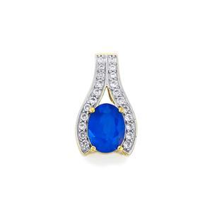 Santorinite™ Blue Spinel & White Zircon 10K Gold Pendant ATGW 1.64cts