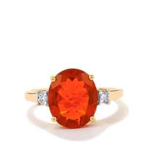 AAA Orange American Fire Opal & Diamond 14K Gold Ring ATGW 3.40cts