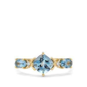 Nigerian Aquamarine Ring with Diamond in 9K Gold 1.30cts