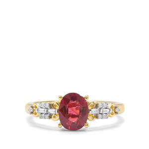 Nigerian Rubellite & Diamond 18K Gold Tomas Rae Ring MTGW 1.12cts