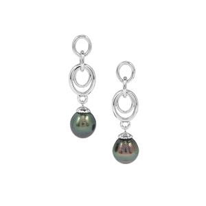 Tahitian Cultured Pearl Sterling Silver Earrings (9.65MM)