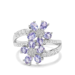 AA Tanzanite & White Zircon Sterling Silver Ring ATGW 2.31cts