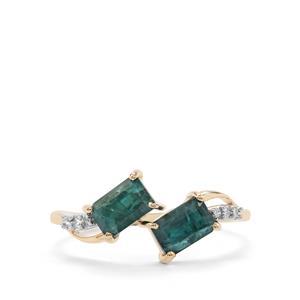 Grandidierite & Diamond 10K Gold Ring ATGW 1.21cts