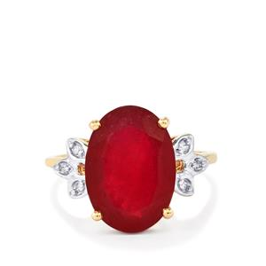Malagasy Ruby Ring with White Zircon in 10k Gold 8.42cts (F)