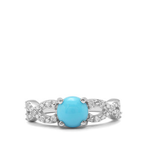 Sleeping Beauty Turquoise & White Zircon Sterling Silver Ring ATGW 1.56cts