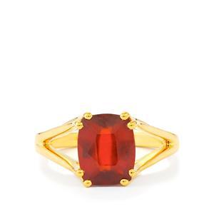 Hessonite Garnet Ring in Gold Vermeil 3.54cts