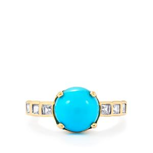 Sleeping Beauty Turquoise Ring with White Zircon in 9K Gold 3.16cts