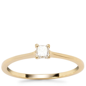 Natural Yellow Diamond Ring in 18K Gold 0.19ct