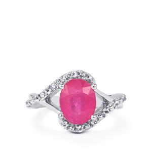 Ilakaka Hot Pink Sapphire & White Topaz Sterling Silver Ring ATGW 3.94cts (F)
